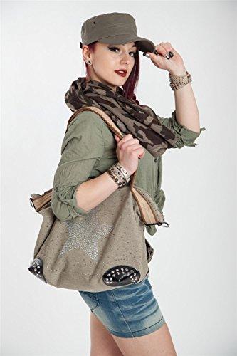 styleBREAKER Handtasche in Canvas Optik mit Strass Stern und Nieten, Schultertasche, Damen 02012066, Farbe:Dunkelgrau Oliv