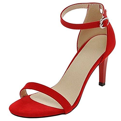 COOLCEPT Mujer Moda Strappy Zapatos Punta Abierta Al Tobillo Tacon De Aguja Sandalias Rojo