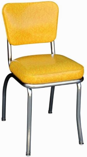 Richardson Seating Retro 1950s Chrome Diner Side Chair in Cracked Ice Yellow