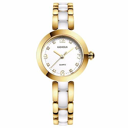 KASHIDUN Women's Wrist Watch Diamond Dial Gold-Tone High-tech White Ceramic Bracelet Watch.ZQ2-J