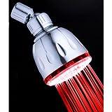 Single Color Fixed LED Illuminated Shower Head Finish: Chrome, LED Color: Red