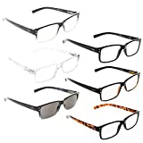 READING GLASSES 6 Pack Spring Hinge Comfort Readers Plastic Includes Sun Readers +1.75