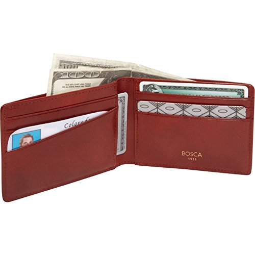 Old Leather Small Bifold Wallet Color: Amber