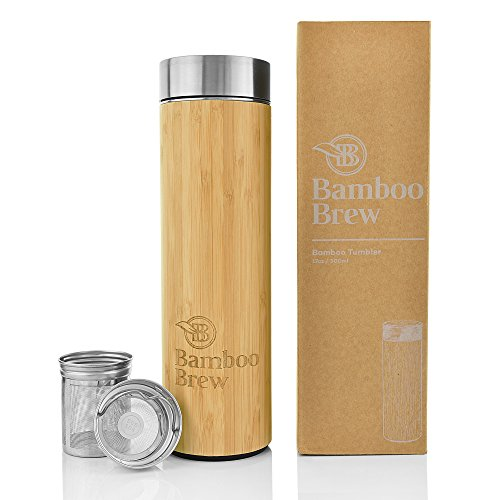 Bamboo Tumbler with Infuser & Strainer | Stainless Steel Coffee & Tea Flask | Double Wall Vacuum Insulated Travel Mug | Loose Leaf Detox Brew & Fruit Infusion Water Bottle | Eco Friendly Thermos 17oz