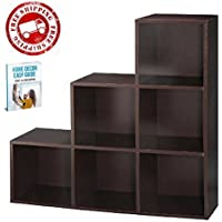 Organizer Cubes Bookshelf Furniture Espresso Living Room Office Bedroom Wooden Modular Boxes & eBook by AllTim3Shopping