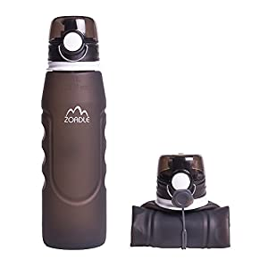ZOADLE Reusable Collapsible Water Bottles - 1 Litre (35 oz), BPA Free, FDA Approved, Leak Proof, Wide Mouth, Flip top, Portable Silicone Sports Water Bottles, for Travel/Outdoors/Exercise (Gray)