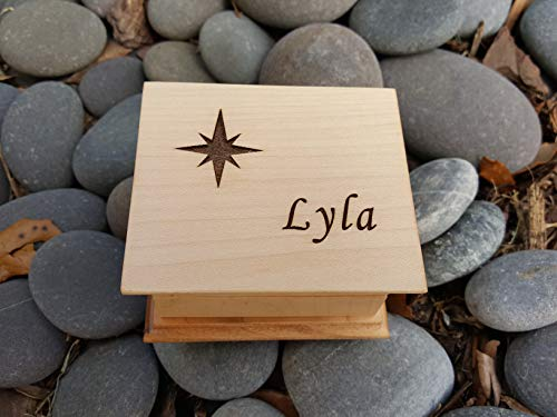 Engraved music box with a star and name engraved on the top, choose your color and song,