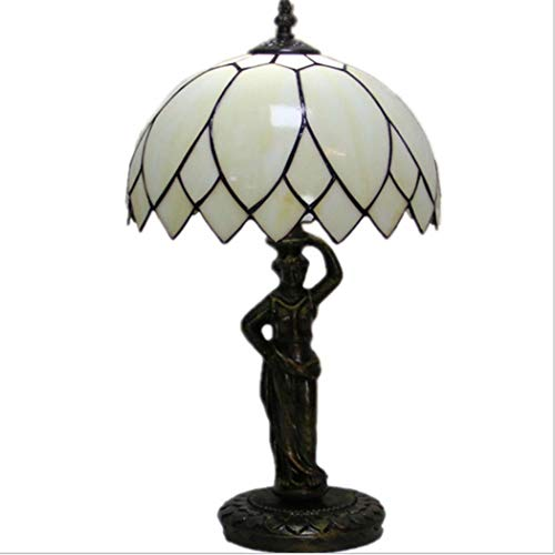 Simple Lotus Leaf Table Lamp Tiffany Style Stained Glass Bedroom Bedside Lamp Retro Study Room Cafe Night Lighting with Alloy Base,E27(2647CM) (Lotus Lamp Tiffany Leaf)