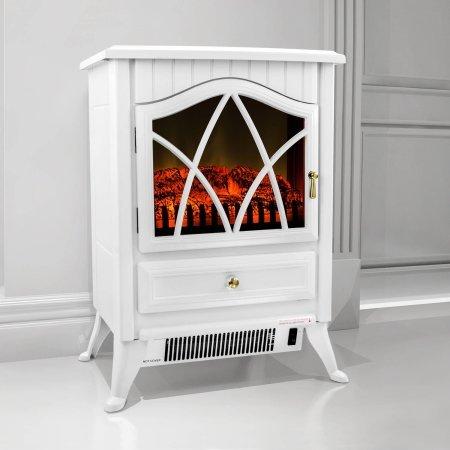 AKDY FP0004 16'' 1500W Heat Adjustable Freestanding Electric Fireplace Heater Stove, Elegant White by AKDY