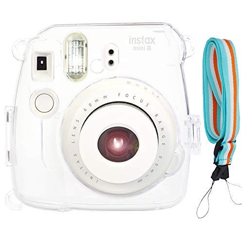 SAIKA Protective Crystal Case for Fujifilm Instax Mini 9 / Mini 8 / Mini 8+ Instant Camera with Adjustable Shoulder Strap- Transparent1