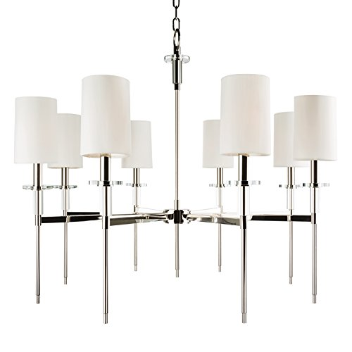 - Hudson Valley Lighting 8518-PN Eight Light Chandelier, 8, Polished Nickel Finish