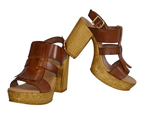 Zapato Piel Efecto TAMBI Cuero Plataforma Sandalia para Tacón Madera Flower Mujer qFUP0ag