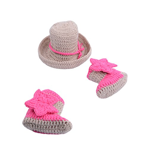 CX-Queen Newborn Baby Photography Prop Crochet Cowboy Hat Boot Diaper Set Costume (Style 13) ()