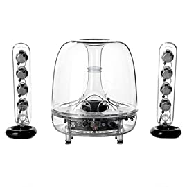 Harman kardon soundsticks wireless bluetooth speaker system 1 integrated bluetooth technology for high performance wireless connectivity 6 inch (150 millimeter) down firing sub woofer for deep bass eight full range transducers for crystal clear sound