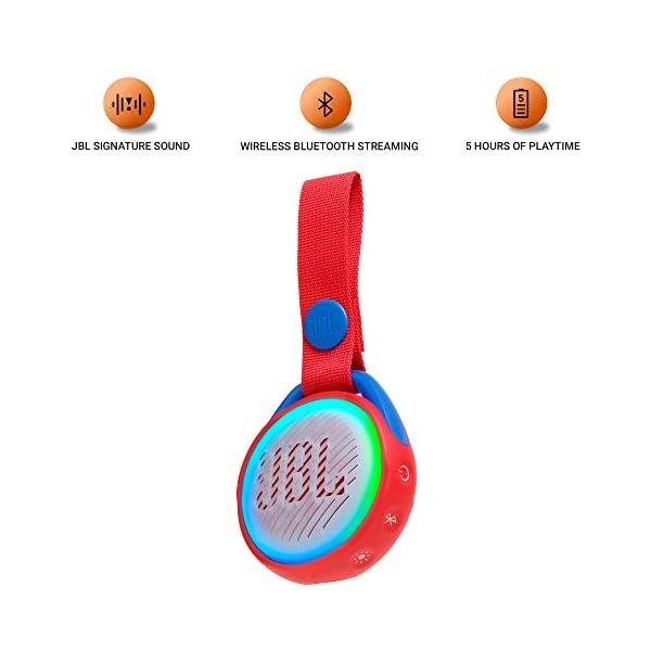 JR POP JBL - Enceinte portable pour enfants - Bluetooth & Waterproof - Avec modes lumineux multicolores & autocollants - Autonomie 5 hrs - Rouge 2