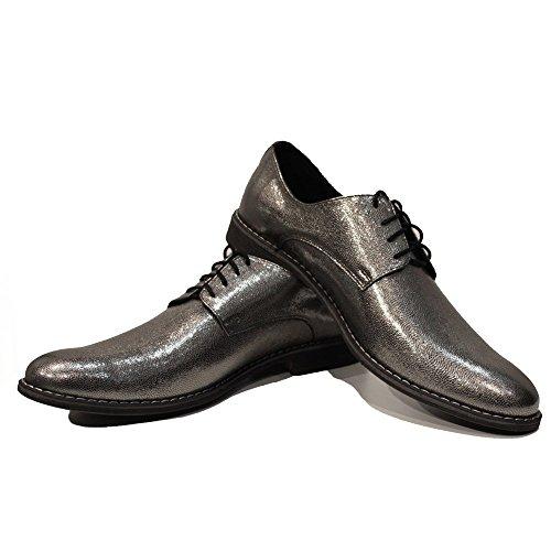 Modello Silmino - Cuero Italiano Hecho A Mano Hombre Piel Plata Zapatos Vestir Oxfords - Cuero Cuero suave - Encaje