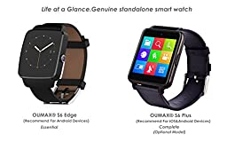 OUMAX™Bluetooth Smart Watch S6 Plus for iPhone 6, 6 Plus, 6S and Samsung S6, Note 5 (Full Function Support for iOS 9.0 and Android 4.3 or above)-Silver/IPS Panel/Premium Leather Strap