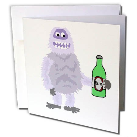 3dRose All Smiles Art Drinking - Cute Funny Abominable Snowman Drinking Beer Cartoon - 6 Greeting Cards with envelopes - Beer Snowman