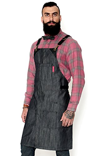 Under NY Sky Cargo Mesh Gray Apron - Cross-Back with Durable Denim, Leather Reinforcement and Split-Leg - Adjustable for Men and Women - Pro Chef, Barbecue, Barista, Bartender, Tattoo Artist Aprons