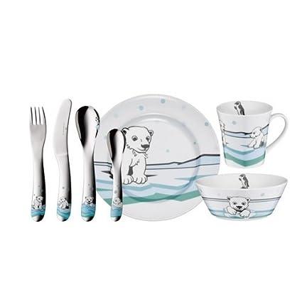 Auerhahn ICE BEAR - Juego de vajilla y cubertería infantil con diseño de osos polares,