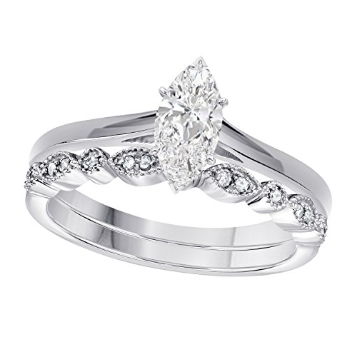 Gems and Jewels 1.00 Ct Marquise Shape & Round Cut White CZ Diamond 14k White Gold Plated Art Deco Vintage Design Wedding Bridal Set Engagement Ring