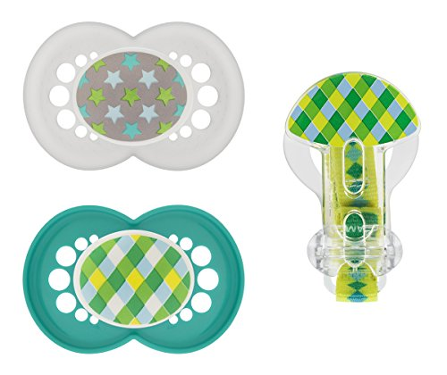MAM Trends Orthodontic Pacifier with Clip Value Pack, Boy, 6+ Months, 2-Count