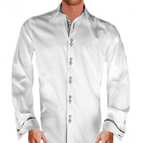 (Anton Alexander Men's French Cuff Designer Dress Shirt Made In USA-XL Fitted -White/Silver)