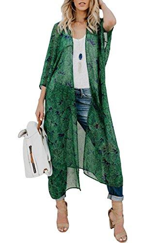 Yonala Women's Summer Floral Print Chiffon Beachwear Top Cover Up Kimono Cardigan - Golden Chiffon Suit