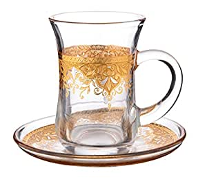 Amazon.com | Cup & Saucer Set Turkish Tea Coffee Glass Gold Color Design 12 Pieces (Gold 2): Cup ...