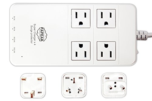 The Best Travel Charging Station with Adapters on Amazon - 110v to 220v Surge Protector. 4 USB Ports