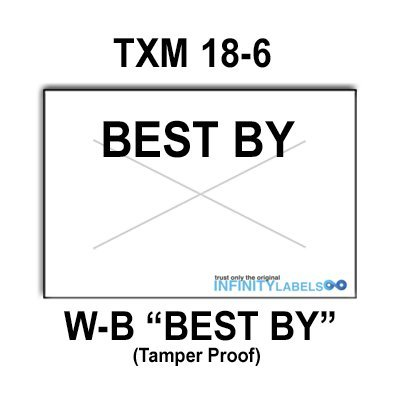 288,000 X-Mark 1812 compatible ''Best By'' White General Purpose Labels to fit the TXM 18-6 Price Guns. Full Case, and includes 8 ink rollers. by Infinity Labels