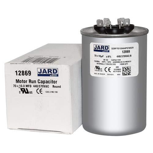 60 10 uf MFD 370 VAC Round Dual Capacitor 12865 Replaces 27L389 27L389BX