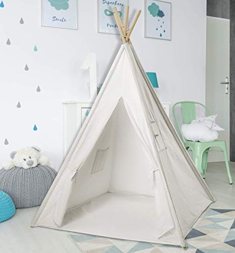 Cotton Canvas White Kids Teepee Tent | Tipi Tents Indoor Outdoor | Play Tent Foldable 5 Feet Tall - 4 Poles | Customizable Cotton Tent | Large Childrens Teepee Tents for Girls and Boys Kids Teepee -