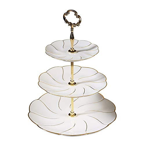 (Triple Decker Plates Fruit Dishes Cake Ceramic Tray Porcelain Tableware Decoration,Gold Wave )