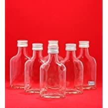 SLK GmbH Empty Glass Bottles for Juice Liquor Schnapps Vinegar Oil for Self-Filling with Screw Caps / 200 ml / Height 15.5 cm / Set of 10