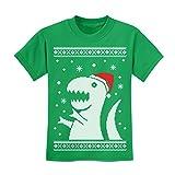 Tstars - Ugly Christmas Sweater Big T-rex Santa kids toddlerKids T-Shirt Small Green