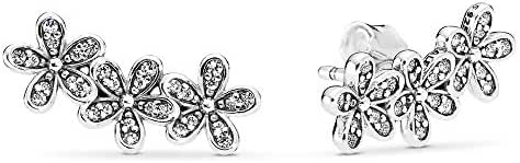 PANDORA Dazzling Daisies Stud Earrings, Sterling Silver, Clear Cubic Zirconia, One Size