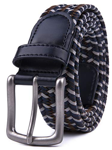 Braided Belts for Girls (L, 2 White Blue)