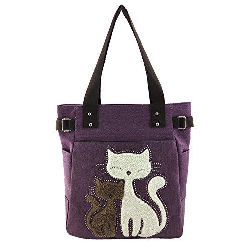 Design Sac Épaule tout À Main Femmes Cute Toile Multifonction Cat Violet Fourre Vitage A1YBqI