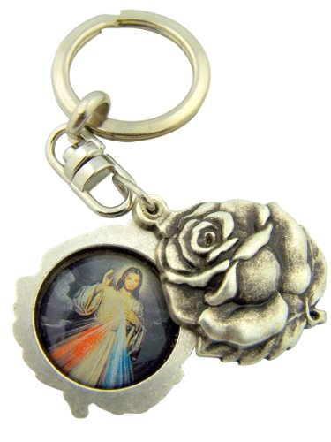 Silver Tone Saint Padre Pio with the Divine Mercy Sliding Rosebud Medal Key Chain, 1 3/4 (Rose Bud Charm)