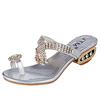 b63948266ca97 Amazon.com  Women Sparkle Sandals Flip Flops Rhinestone Wedges Shoes ...