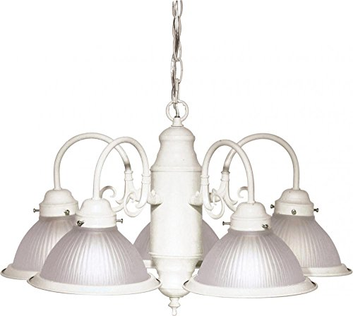 Nuvo SF76/693 Five Light Chandelier with Frosted Ribbed Glass, Textured White