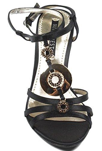 NINE WEST - Damen Knöchelriemen Keil Sandale NWJUVELIE BLACK Hacke: 10 cm