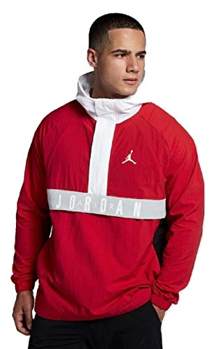(Jordan Nike Air Wings Anorak Red/Black/White Pullover Wind Jacket Size XL)