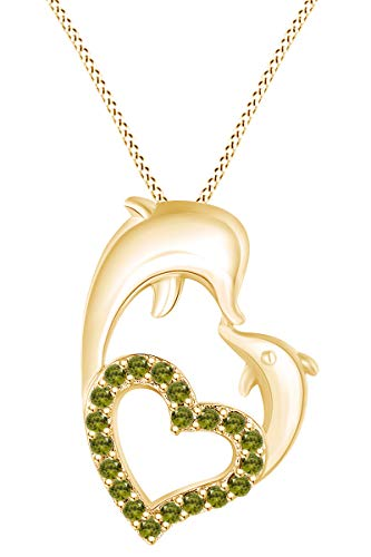 AFFY Round Shape Simulated Peridot Mom and Child Dolphin Heart Pendant Necklace in 14k Yellow Gold Over Sterling Silver