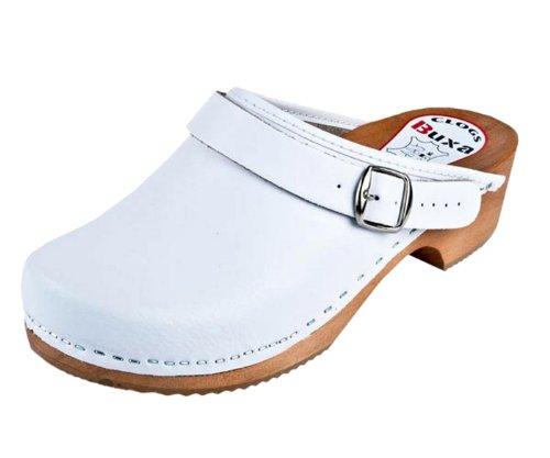 Buxa Unisex Holz und Leder Clogs/Pantoletten, Fersenriemen Weiß