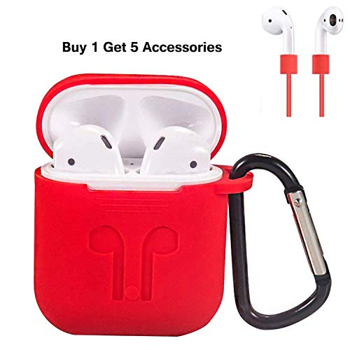 Premium Silicone Skin Case Cover - AirPods Case Cover, Silicone Protective Case and Skin for Airpods Charging Case with Airpods Anti-Lost Strap/Airpods Hooks (Red)