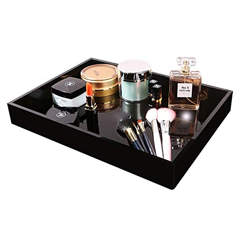 MissionMatch Acrylic Vanity Tray, Remote Tray, Valet Tray Organizer,Catchall Tray, Nightstand or Dresser Organizer for Change, Coin, Key, Phone, Glasses (Black) (Black Glass Dresser)