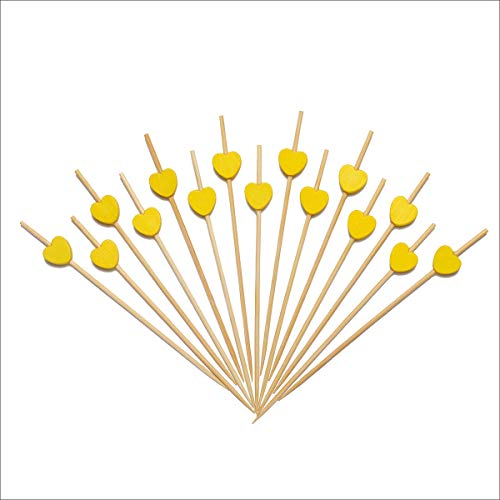 (Yellow Love Heart Cocktail Picks Bamboo Appetizer Toothpicks For Wedding Birthday Valentine's Day Party Fruit Food Drinks Décor Sandwich Kabob Skewers 4.7