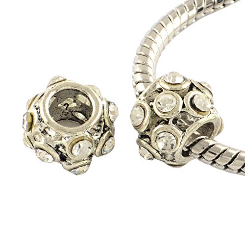 FINEFINDING 50pcs Large Hole Beads Barrel Antique Silver Plated Alloy Rhinestone European Beads for Jewelry ()